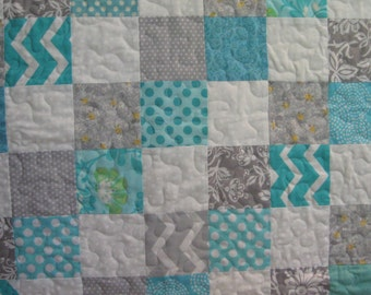 Teal and Silver Chevron Baby Quilt Patchwork