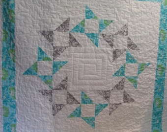 Teal and Silver  Baby Quilt Patchwork