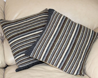 Upcycled Wool felt pillow covers Striped Wool Set of Two 15 by 15 recycled decor Quiltsy Handmade