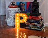 "Letter Light P - RUSTY - 12"" Vintage Marquee Lights-The Original!"