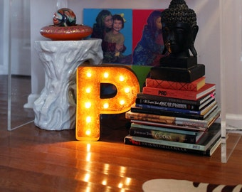 """SALE - Letter Light P - RUSTY - 12"""" Vintage Marquee Lights-The Original!"""