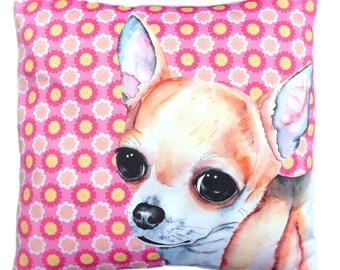 Cute floral Chihuahua dog cushion pillow cover pink
