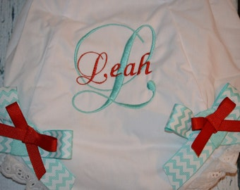 CUSTOM Personalized Baby BLOOMERS Diaper Cover with Bows Monogrammed Bloomer