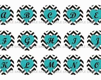 INSTANT DOWNLOAD...Black Chevron & Teal Glitter Hearts Alphabet 1 Inch Circle Image Collage for Bottle Caps...Buy 3 get 1