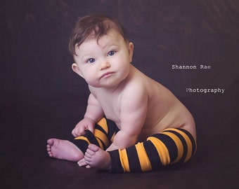 Light Orange and Black Striped  Baby Leg Warmers