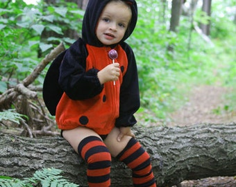 Red and Black Striped Halloween Baby Toddler Leg Warmers