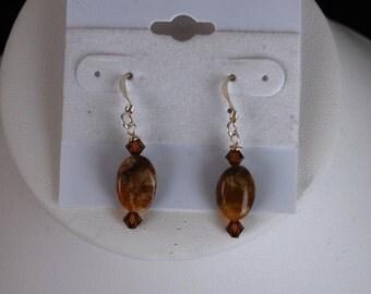 Agate & Swarovski Crystal Earrings