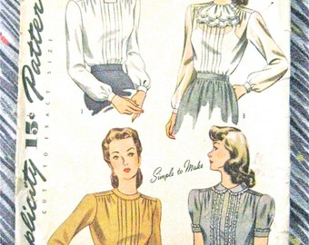 Vintage 1940s Simplicity 4556 Blouse Sewing Pattern 40s Top