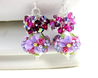 Purple Pink Floral Earrings, Granny Floral Jewelry, Lampwork Earrings, Flower Earrings, Crystal Earrings, Dangle Earrings, Pastel Earrings