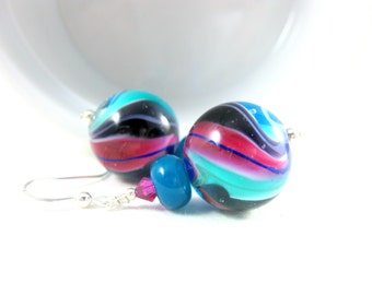 Pink Purple Teal Earrings,, Colorful Glass Earrings, Lampwork Earrings, Jewel Tone Earrings, Beadwork Earrings, Bead Earrings - Tornado