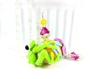 Frog Necklace, Fun Necklace, Animal Jewelry, Pink Green Yellow Lampwork Necklace, Frog Jewelry Whimsical Jewelry Nature Inspired Kiss A Frog