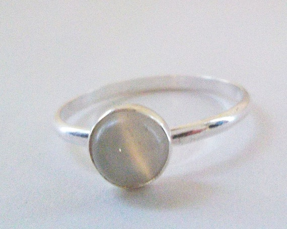 Moonstone Ring, Simple Sterling Silver White Moonstone Ring