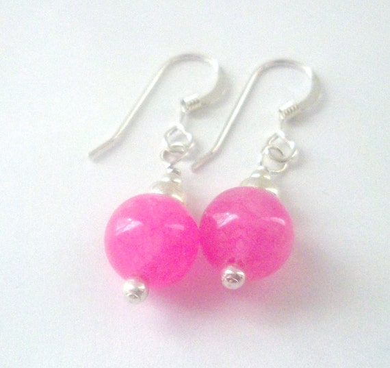 Pink Malaysia Jade Earrings in Sterling Silver