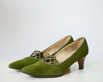 1960s Moss Green Leather Heels 7.5B