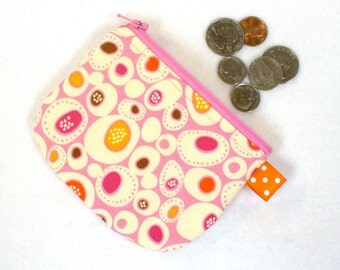 Mod Pebbles Erin McMorris Fabric Mini Coin Purse Fabric Zipper Change Purse Pink Orange Cream Stones Handmade MTO