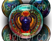 Guardian of Sun - Egyptian Scarab - 63  1 Inch Circle JPG images - Digital  Collage Sheet