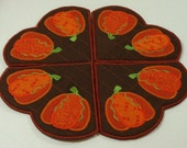 Machine Embroidery Design-ITH-Doily/Candle Mat/Runner/Place-Applique Pumpkin includes 2 sizes!