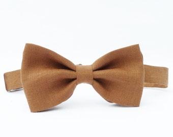 Mens Bow Tie - Cocoa Brown Irish Linen, pretied bow tie, wedding accessory