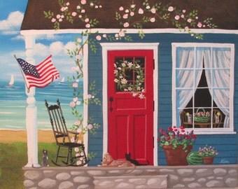 Summer on the Porch Folk Art Print