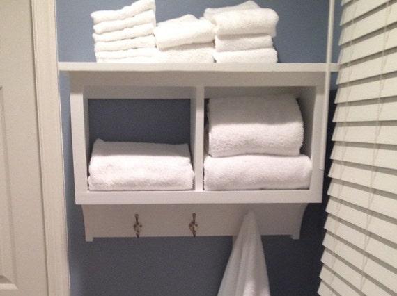 towel rack cubby wall shelf bathroom holder by Shelf with Cubbies and Hooks DIY 2X4 Shelf Plans