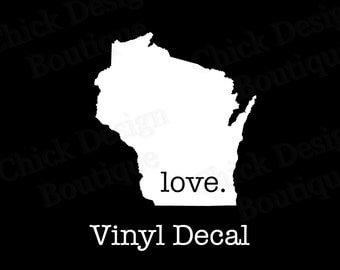 Wisconsin Love Silhouette Vinyl Decal