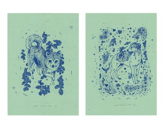 Plant Dogs Risograph Prints on Green Paper