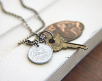 Unisex Coin Necklace Indie Bohemian Vintage Master Key Salvaged Materials  - The Victory.