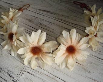 Accessories, Hair, Headband, Flower Crown, Spring, Summer, Festival Crown, Daisy Flower Crown, Head Wreath, Flower, Woodland- Delphine