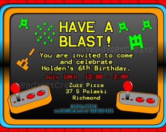 Video Game DIY Party Invitation. Video GameTheme Invite. Custom Arcade Birthday Party Digitial Invitation. Printable Invitation