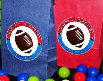 Football Party Favor Goody Bags w/Sticker Seals. Football Birthday Loot Bags. Football Themed Treat Sacks. Gift Bags Set of TEN. Choose Size