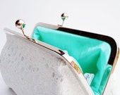 White and Silver Wedding Clutch, Minty Green Purse, Bridesmaids Gifts, Personalized Gift