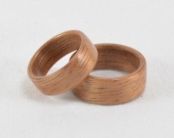 Wood Wedding Ring Set -  Bentwood South American Mahogany Wood Rings - Engagement Ring, Wedding Ring, Wedding Band - Handmade - Natural