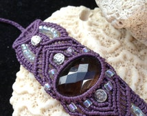 Smoky quartz macrame bracelet