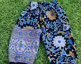 Hippie Harem pants Kids-size 3 -Purple Blue Sunflower -Girls or Boys