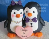 Pudgy Penguin Wedding Cake Topper with Personalized Heart Gift Box Included