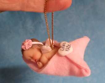 Pink Newborn Angel Baby Ornament Wrapped in Fleece Blanket with Personalized Heart