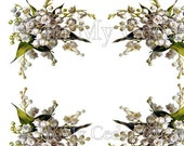 Instant Digital Download Vintage Lily of the Valley Blossoms Flowers Transparent PNG and Instructions to make Waterslide Decals Bonus! ECS