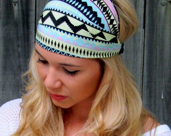 Yoga Wide Headband Wide Head wraps for Women Aztec Mint Green Blue Black Bohemian HeadBand Workout Womens Hair Accessories - Choose Color