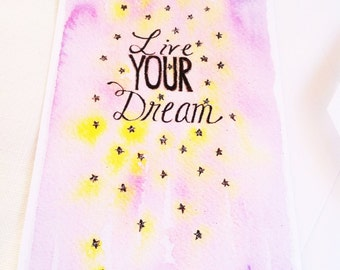 Live your dream stars hand painted watercolor illustration flat note cards