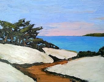 Impressionist Painting California Plein Air MONTEREY PACIFIC BAY Carmel Ocean Seascape Sand Dune Landscape Beach Lynne French