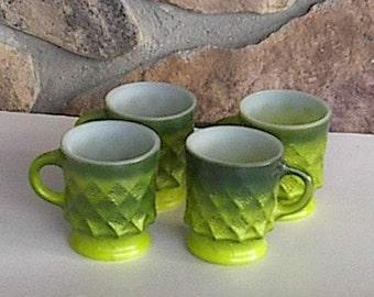 4 Green  1960's Mugs