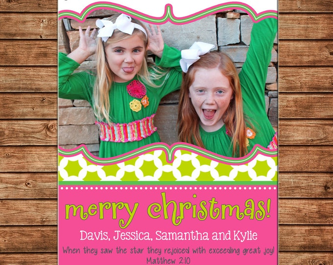 Christmas Holiday Photo Card Peace Love Joy Pink Lime - Can Personalize - Printable File or Printed Cards