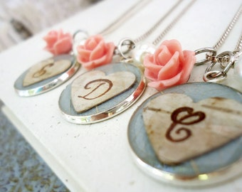 Personalized Bridesmaids Necklace, Rustic Blue Bridesmaids Jewelry, Birch Bark Heart Monogram Initial Necklace, Ice Blue & Pink Coral/ Ivory