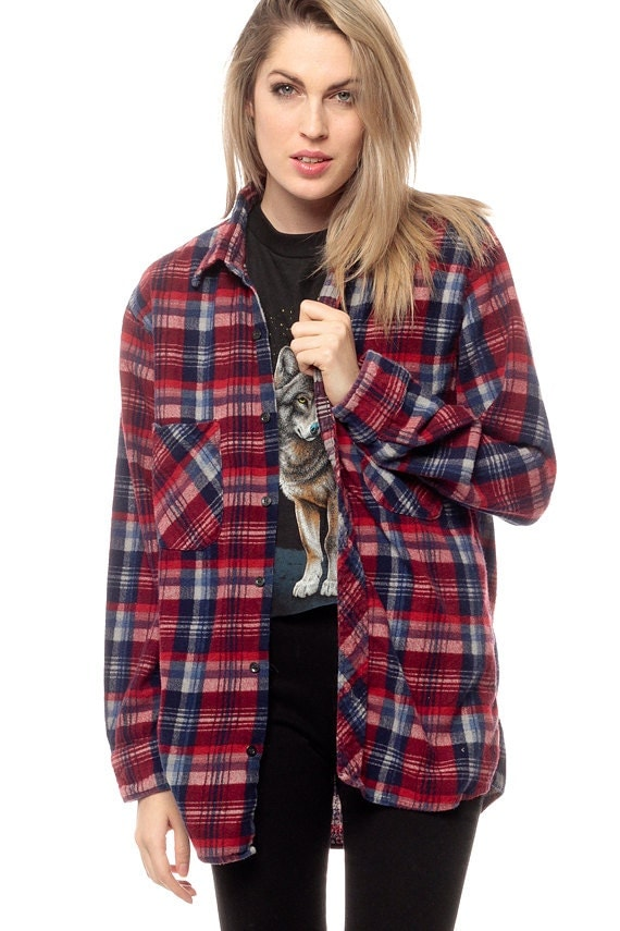 Oversized plaid shirt 90s flannel red navy blue white for Navy blue and red flannel shirt