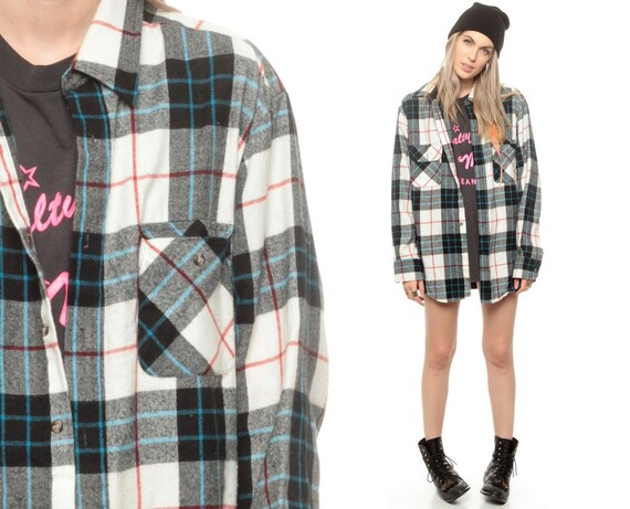 90s grunge flannel shirt plaid shirt button down by shopexile for Women s button down shirts extra long