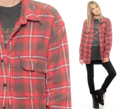 Oversized flannel shirt 80s plaid shirt red brown by shopexile for Oversized red plaid shirt