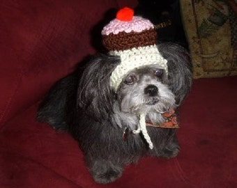 Birthday Cupcake pet hat - 3 colors - humorous - 2 to 20 lb dog or cat