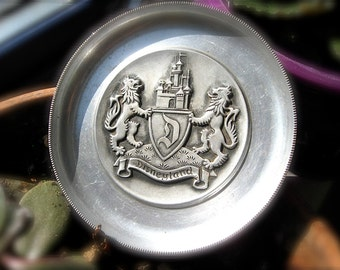 Walt Disney Productions Small Disneyland Aluminum Plate with Lions from Switzerland Heraldry Disney Crest