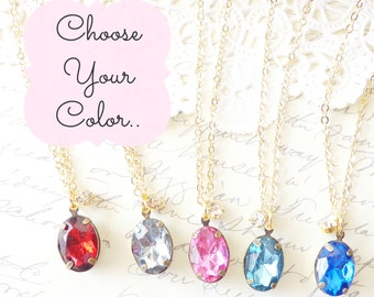Choose Your Color - Crystal Charm Necklace - Rhinestone Gem - Resin Charm - Vintage Crystal