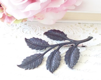 Black Satin Leaf Branch Hair Pin - Woodland Collection - Whimsical - Nature - Bridal - Black Patina